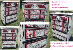 Specially painted Dresser. This was painted to match a hot pink / zebra bedroom. Added diamond jewels for extra girly flare (and her last name was Diamond)...so double cool! Girls Initial in center. Sold for $150
