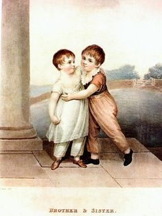 White dress for the girl, skeleton suit for the boy. Brother and Sister  Adam Buck c. 1810