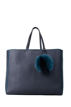 ORCIANI LEATHER BLACK-PETROLEUM BLUE SHOPPING BAG. #orciani #bags #hand bags #velvet #fur #