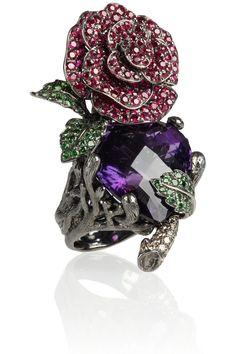 Lydia Courteille Secret Garden 18-karat blackened white gold multistone ring NET-A-PORTER.COM