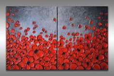 Red Abstract Flower Painting Original Abstract Painting