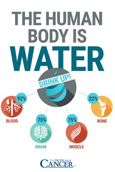 Drink lots and lots of water! The human body is water: Blood 92%, Brain 75%, Muscle 75% & Bone 22%. Are you drinking enough water, and doing so every day? Click on the image above to find out more as Ty Bollinger explains water and cancer prevention. Please re-pin. Together we'll empower the world with life-saving knowledge!