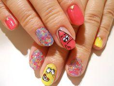 スポンジボブネイル #ネイル#nail#ネイルアート#原宿#リトルハピネス#LittleHappiness#nailart#ネイルデザイン