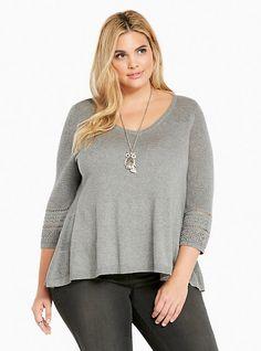 Hi-Lo Pointelle Inset Sweater, HEATHER GREY