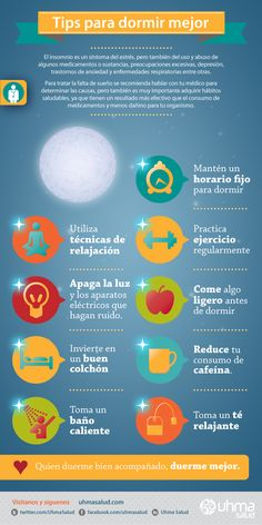 Infografía de salud. Tips para dormir mejor.  Health Infographic. How to Sleep Better.