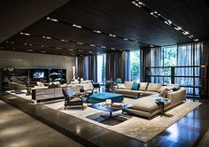 Spazio Minotti - Dedece Blog | Dedece Blog...  I'd love to have this Lighting in the Wood Ceiling of our Great Room...