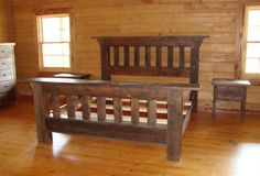 Rustic Bedroom Furniture Of Handcrafted Barn Wood Furniture Is Brought To Life In This Rustic Rustic Pine Furniture, Rustic Bedroom Furniture, Rustic Bedding, Reclaimed Wood Furniture, Bed Furniture, Furniture Plans, Furniture Design, Furniture Stores, Broyhill Furniture
