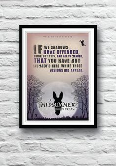 A Midsummer Night's Dream, Shakespeare quote, Shakespeare poster, quote print, puck, wall decor, literature poster