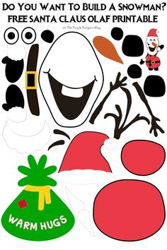 Santa Claus Olaf - Do You Want To Build A Snowman Free Printable Tons Of Other Free Disney Printables On This Website Christmas Activities For Kids, Preschool Christmas, Kids Christmas, Christmas Games, Disney Christmas Crafts, Build A Snowman, Snowman Crafts, Holiday Crafts, Disney Printables