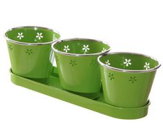 Three Plant Pots Set with Flower Fretwork, green pots