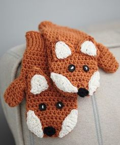 Crocheted Children's Fox Mittens (free pattern) - designed by Millie Masterton (excerpted from Ruby & Custard's crochet)
