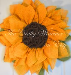 Bright Orange Sunflower Burlap Wreath, Summer Wreath - pinned by pin4etsy.com