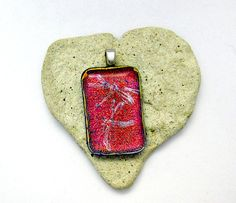 Fused Dichroic Glass Pendant - Pink to Red Pendant. $22.00, via Etsy.