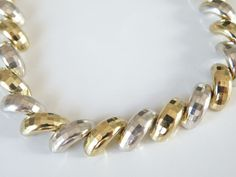 """Milor Italy Sterling Silver Two Tone Diamond Cut Macaroni San Marco Necklace 17"""" #Milor #Chain"""