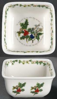 "Portmeirion The Holly and The Ivy 4"" Square Mini Bowl"