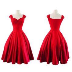 vestido de noche vendimia elegante dulce princesa Style vestido bomba del cuello del barco slim Fit oscilación grande Pure color sin mangas falda plisada rojo