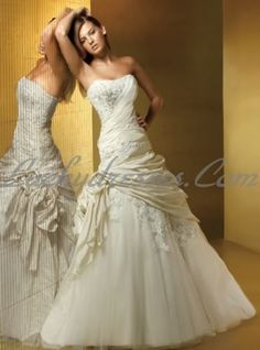 "Fabric:Taffeta Neckline Silhouettes:A line Season:Spring,Summer,Fall Description:Strapless Ruched Bodice with A line Skirt Wedding Dressses"""