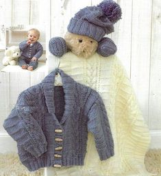 PDF Digital Vintage Knitting Pattern Baby Childs Aran jacket mittens hat and blanket 0 - 2 years