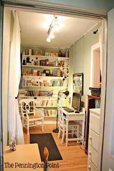 I enclosed part of the porch to create this teeny room.But don't measure its usefulness by its size….we couldn't do without it!The kids can go in there to read or work on their computer or do some quiet school work.They can close the door and concentrate