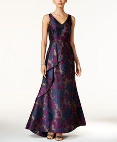 Tahari ASL Floral-Print  Jacquard A-Line Gown   macys.com