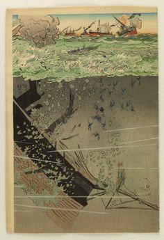 Kobayashi Kiyochika 小林 清親 (1847-1915) Waga kantai kokai ni oite shikan o uchi shizumeru no zu 我が艦隊個会において士官をうち沈めるの図 - First Sino-Japanese War (1 August 1894 – 17 April 1895) - Japan - 1894 Source : The art Walters museum