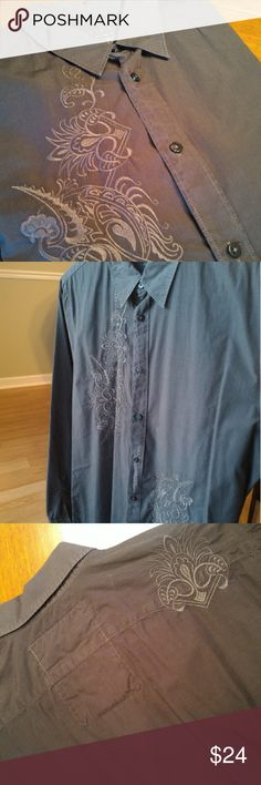 Drk Gray Guess Button Down with Embroidery Stone Gray GUESS Button Down. Embroidered design on left and right sides of buttons. Some red stitching at the neck and on the bottom corners of shirt. Made in India. Size XL Guess Shirts Casual Button Down Shirts