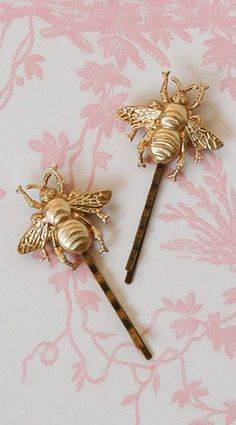 Gold BEE Hair Accessories Bumblebee Bobby Pin Set Gold Woodland Wedding