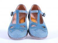 Ocra schoen gesp leder strik blauwprint (m24-m35) - Hippe kinderschoenen en zo!