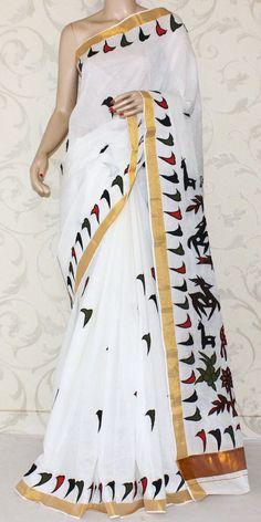 Kerala Cotton Handloom Saree (Applique Work, With Blouse) 12876