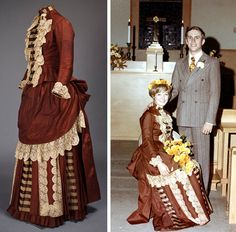 Wedding dress, 1886. Two pieces. Rusty brown silk and brown & ivory striped silk with lace trim. Fully lined. Bodice has long sleeves & band collar. Center front closes w/18 mother of pearl buttons w/gold underlay & silver flower accent. Bustle skirt is in 3 layers. Overskirt resembles apron in front, trimmed in lace and bustle in back. Middle layer alternates pleats, striped fabric, & lace trim. Dress worn first in 1886 and again in 1969. Left photo: F.E. Graham. American Textile History…