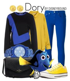 """""""Dory"""" by leslieakay ❤ liked on Polyvore featuring Polo Ralph Lauren, H&M, LO not EQUAL, Converse, Lord & Taylor, disney, disneybound, EllenDeGeneres and disneycharacter"""