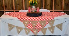 country red gingham wedding