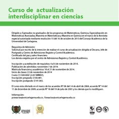 Curso de actualización interdisciplinar en ciencias. #Matemáticas #Química #EspecializaciónMatemáticasAvanzadas #MaestríaMatemáticas #MaestríaQuímica