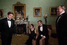 "From left, Allen Leech, Michelle Dockery, Dan Stevens and Hugh Bonneville on the set of ""Downton Abbey."""