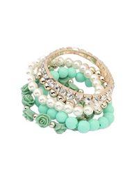 Shiny Pearl Flower Diamond Elastic Multilayer Bangle Bracelet