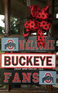 "Ohio Buckeyes Wooden Sign 12"" x 10"" by DoorandDecor on Etsy https://www.etsy.com/listing/239138187/ohio-buckeyes-wooden-sign-12-x-10"