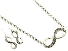 INFINITY MARCASITE SILVER SET