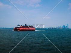 new york ferry - A red ferry leaves Manhattan