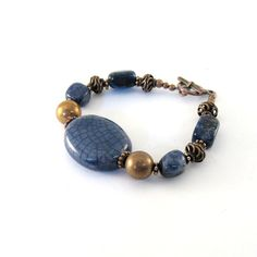 Blue Ceramic Bracelet Antique Copper Sodalite  by CinLynnBoutique, $24.00