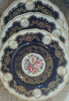 Ten Antique Black Knight Cobalt Blue Gold Ornate Dinner Plate Hohenberg Bavaria
