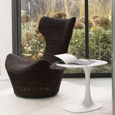 Moderner Sessel / Manilahanf / Ohren / mit Fußstütze GRANDE PAPILIO B&B Italia