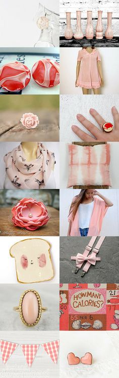 Just peachy, pinks and what is this RED too! by Rebecca Waczko on Etsy--Pinned with TreasuryPin.com