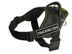 Dean and Tyler Fun Works 28-Inch to 34-Inch Pet Harness, Medium, Tracking Dog, Black with Yellow Trim * Find out more about the great product at the image link. (This is an affiliate link and I receive a commission for the sales) #PetDogs
