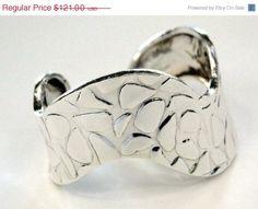 On SALE Wide Sterling Cuff Bracelet Cheetah by MyVtgJewelryShop, $108.90