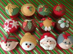 Wanted to stick with the traditional red, gold and green colours of christmas, but with the things that i associate xmas with. Mini Christmas Cakes, Christmas Cupcake Toppers, Christmas Cake Designs, Holiday Cakes, Christmas Desserts, Christmas Treats, Christmas Baking, Christmas Cookies, Christmas Holidays