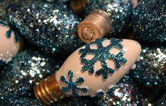 Snowflakes and Dragonflies: Glittered Christmas Light Bulbs