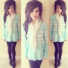 Blue and white sweater paired with  black leggings or jeans and a white scarf = Super cute !  http://www.facebook.com/pages/Fashion-and-Trends/436830103072343