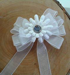 Set of THREE White Organza Ribbon Bows Elegant Layered