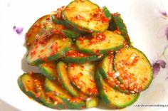 Seasoned Cucumber (Oi-muchim) - spicy, sweet and sour Korean Cucumber Salad, Cucumber Kimchi, Korean Cucumber Side Dish, Korean Side Dishes, Asian Recipes, Healthy Recipes, Easy Recipes, K Food, Cucumber Recipes