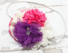 Precious Petite headband in plum purple, fuchsia, hot pink and cream by SoTweetDesigns on Etsy